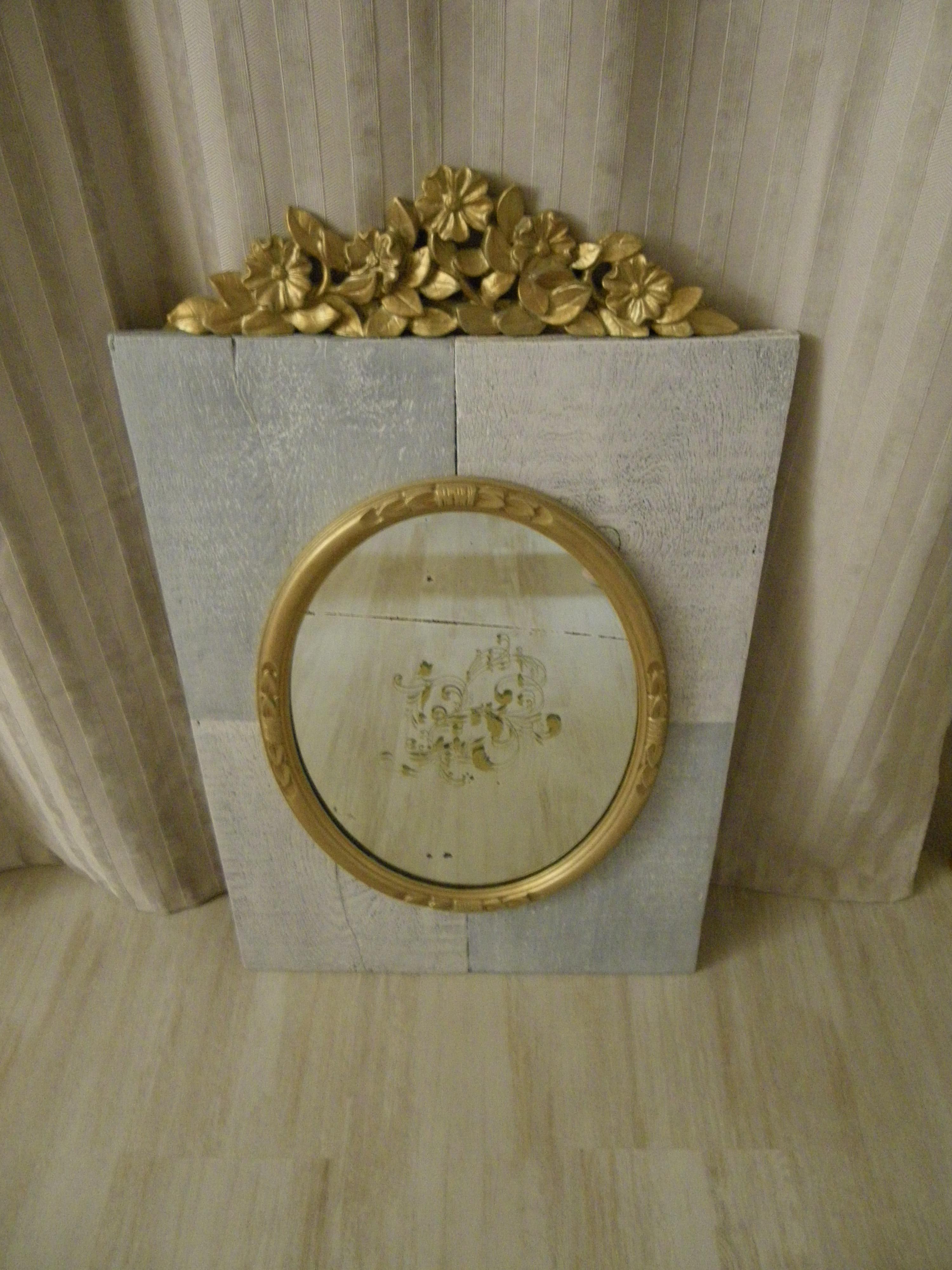 Miroir Ancien Ovale Dor Sur Support Bois Patin Avec