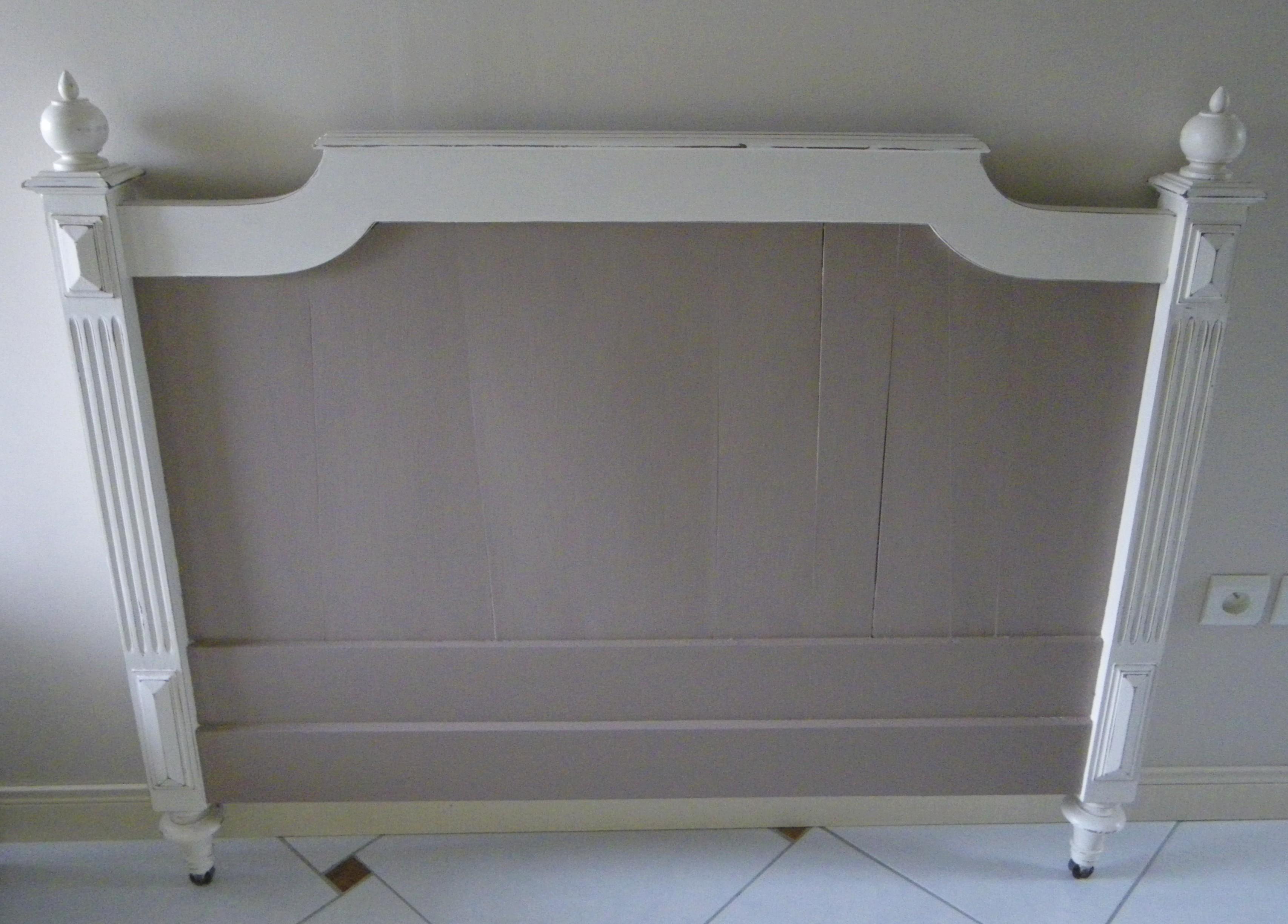 t te de lit ancienne patin e taupe et ficelle rallong e pour un lit en 160cm anjoudeco. Black Bedroom Furniture Sets. Home Design Ideas