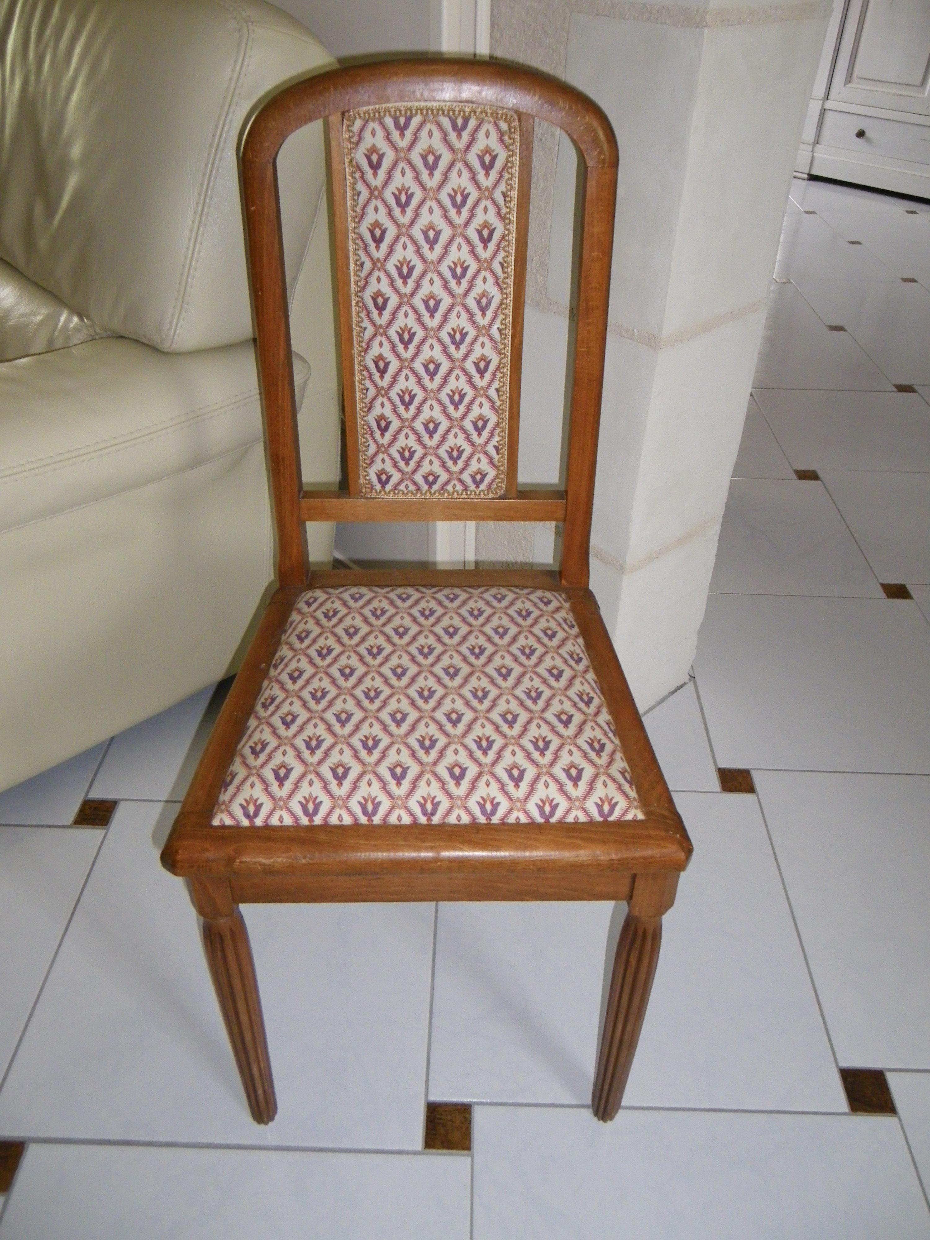 chaise ann es 50 patine blanche et retapiss e anjoudeco. Black Bedroom Furniture Sets. Home Design Ideas