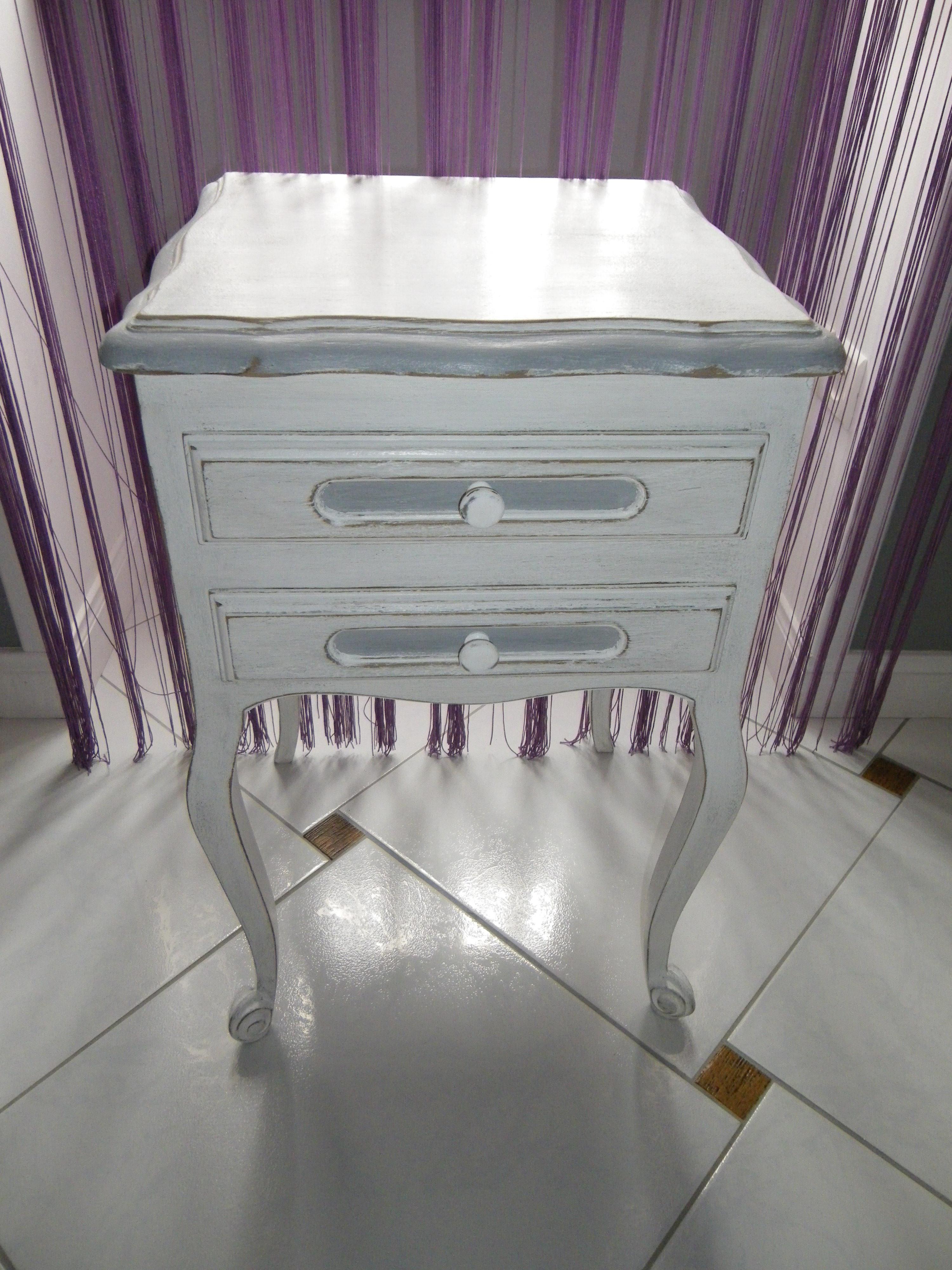 Chevet table de nuit ancien patin blanc et gris anjoudeco - Table de chevet faible largeur ...
