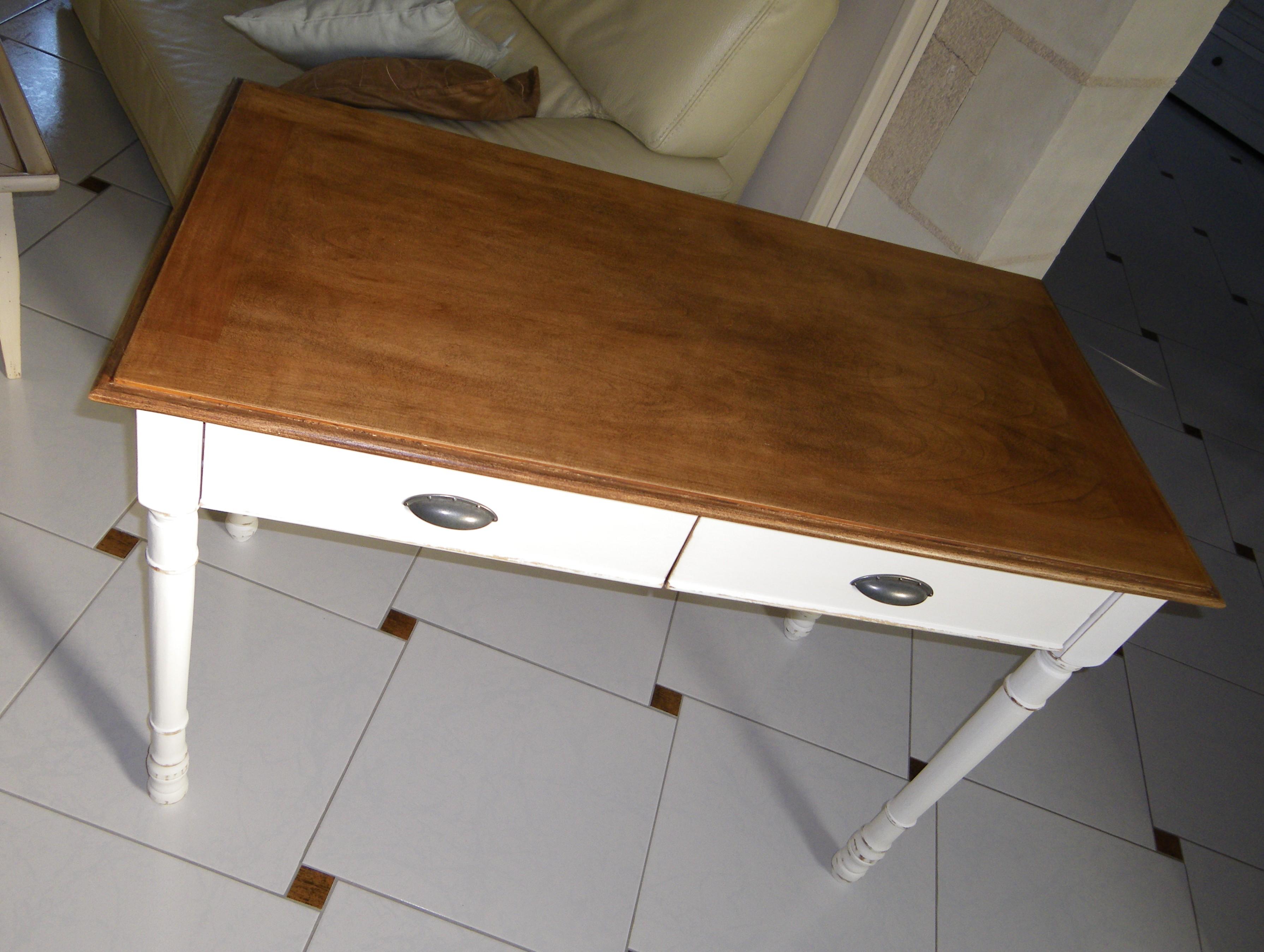 Bureau blanc patiné table console bois et metal tiroirs bureau