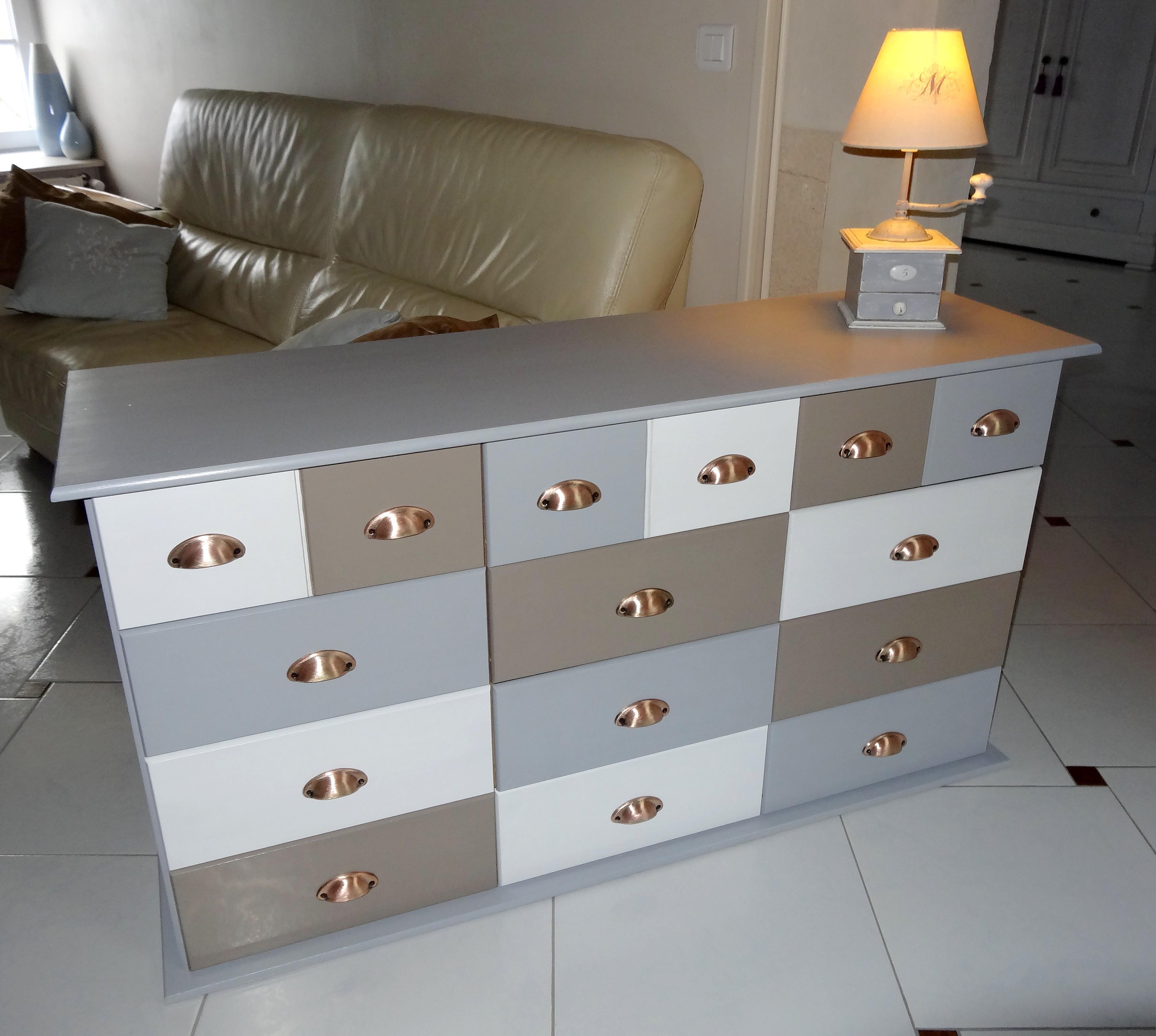 Meuble 15 tiroirs style meuble de mercerie relook avant - Meuble relooke a vendre ...