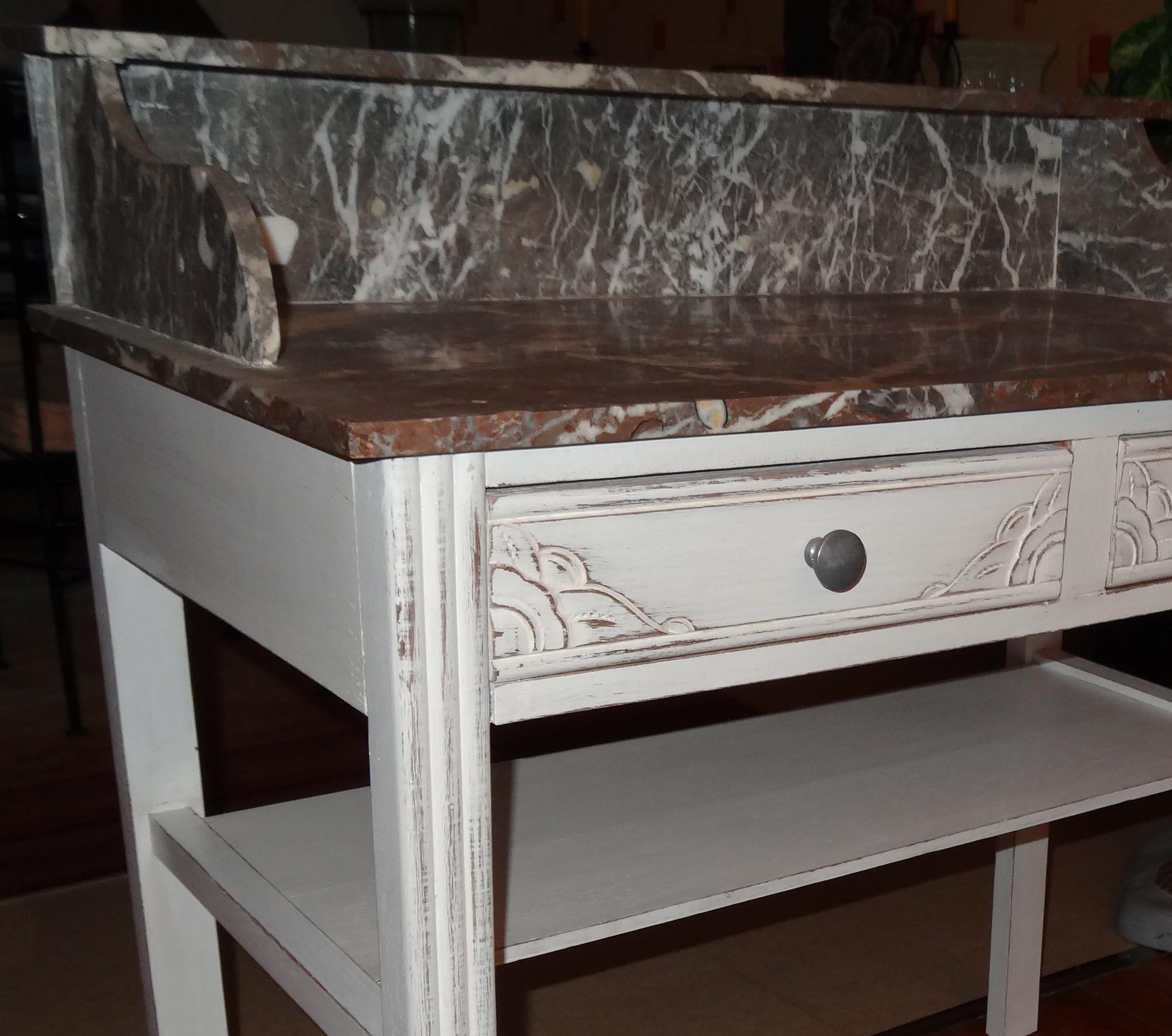 coiffeuse ancienne ann e 30 patin e avec marbre gris avant apr s anjoudeco. Black Bedroom Furniture Sets. Home Design Ideas