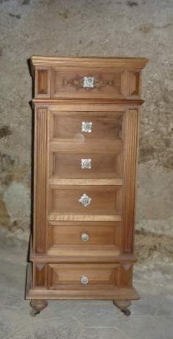 Chiffonnier ancien effet shabby lin et taupe et dessus en - Meuble ancien avec marbre ...