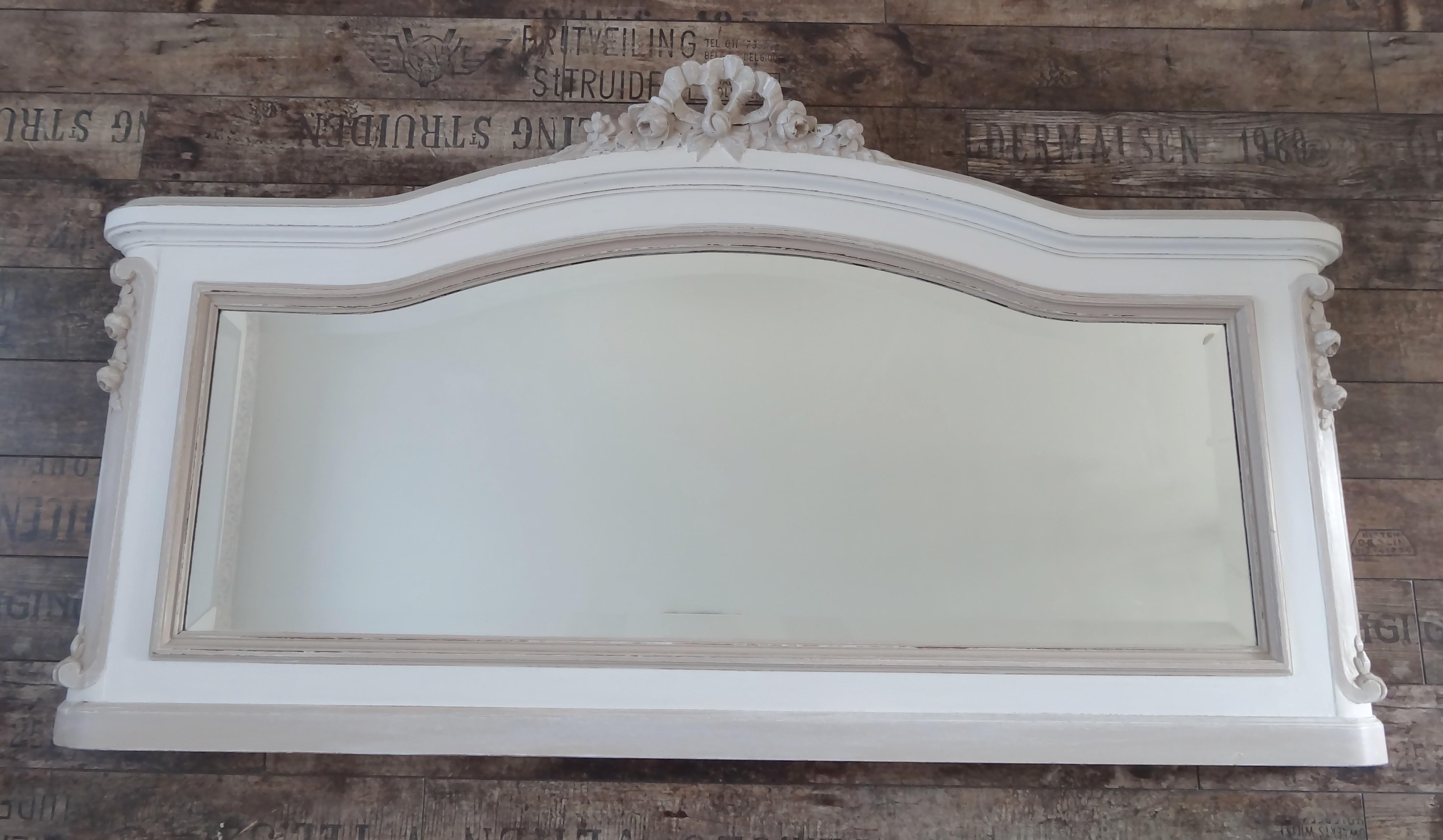 miroir rectangle ancien noeud effet shabby blanc et. Black Bedroom Furniture Sets. Home Design Ideas