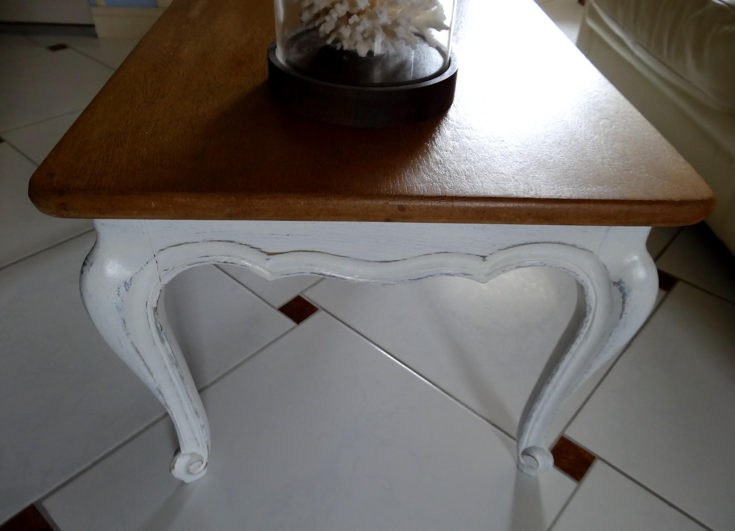 Jolie table basse style louis xv pi tement patin blanc et - Table basse peinte ...