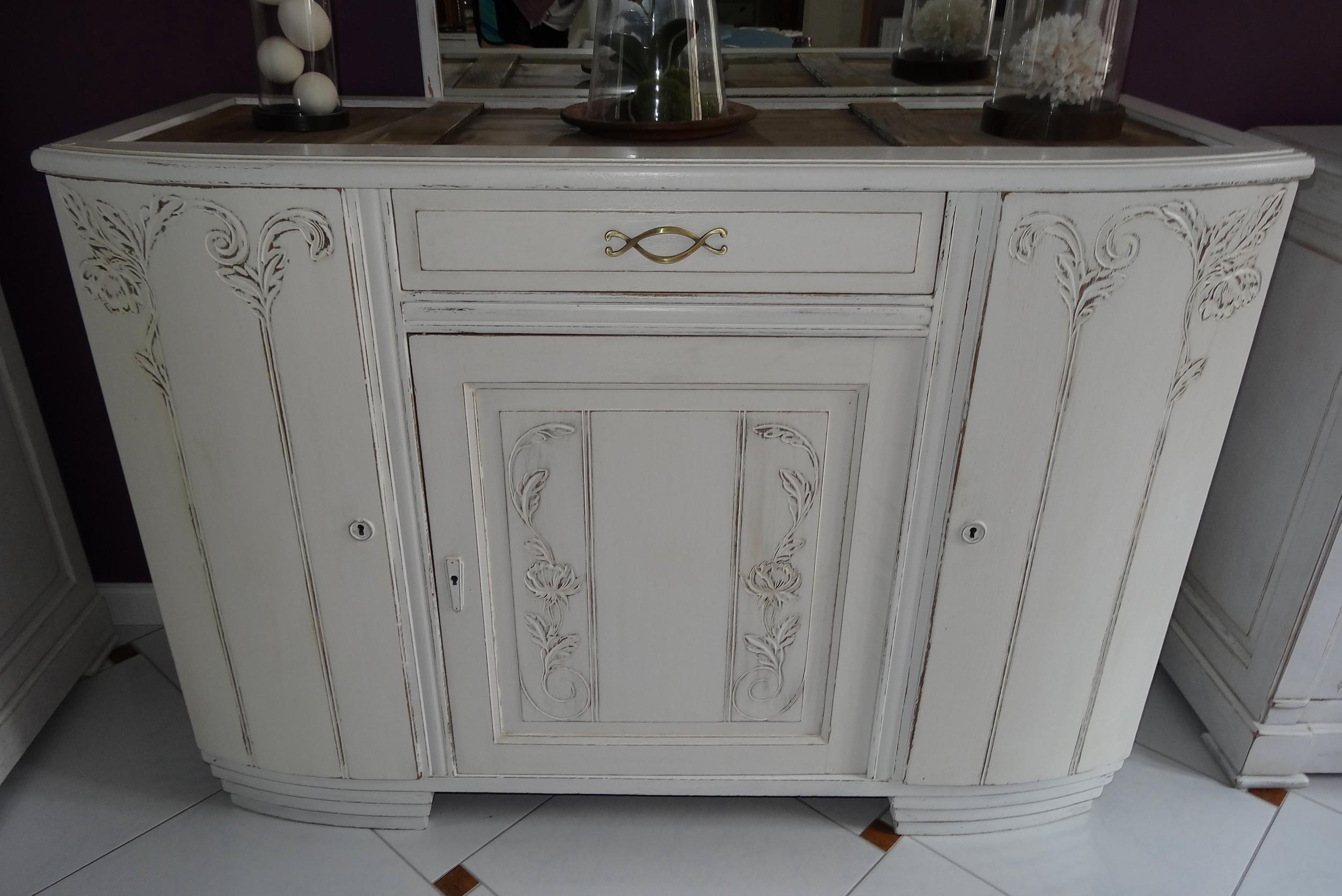 meuble bahut ann es 30 patin blanc anjoudeco. Black Bedroom Furniture Sets. Home Design Ideas
