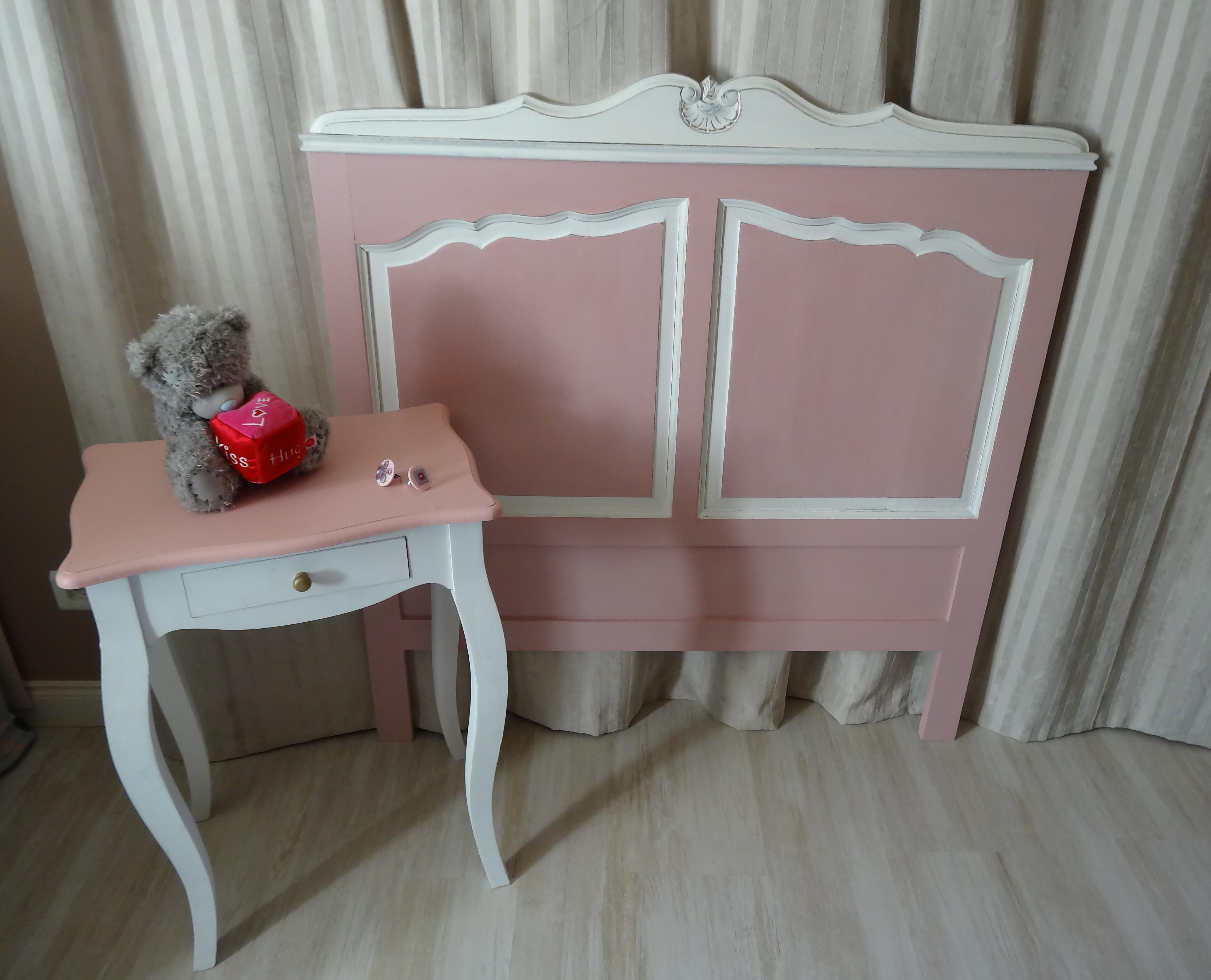 Tête de lit 1 personne ancienne patinée rose poudre pour