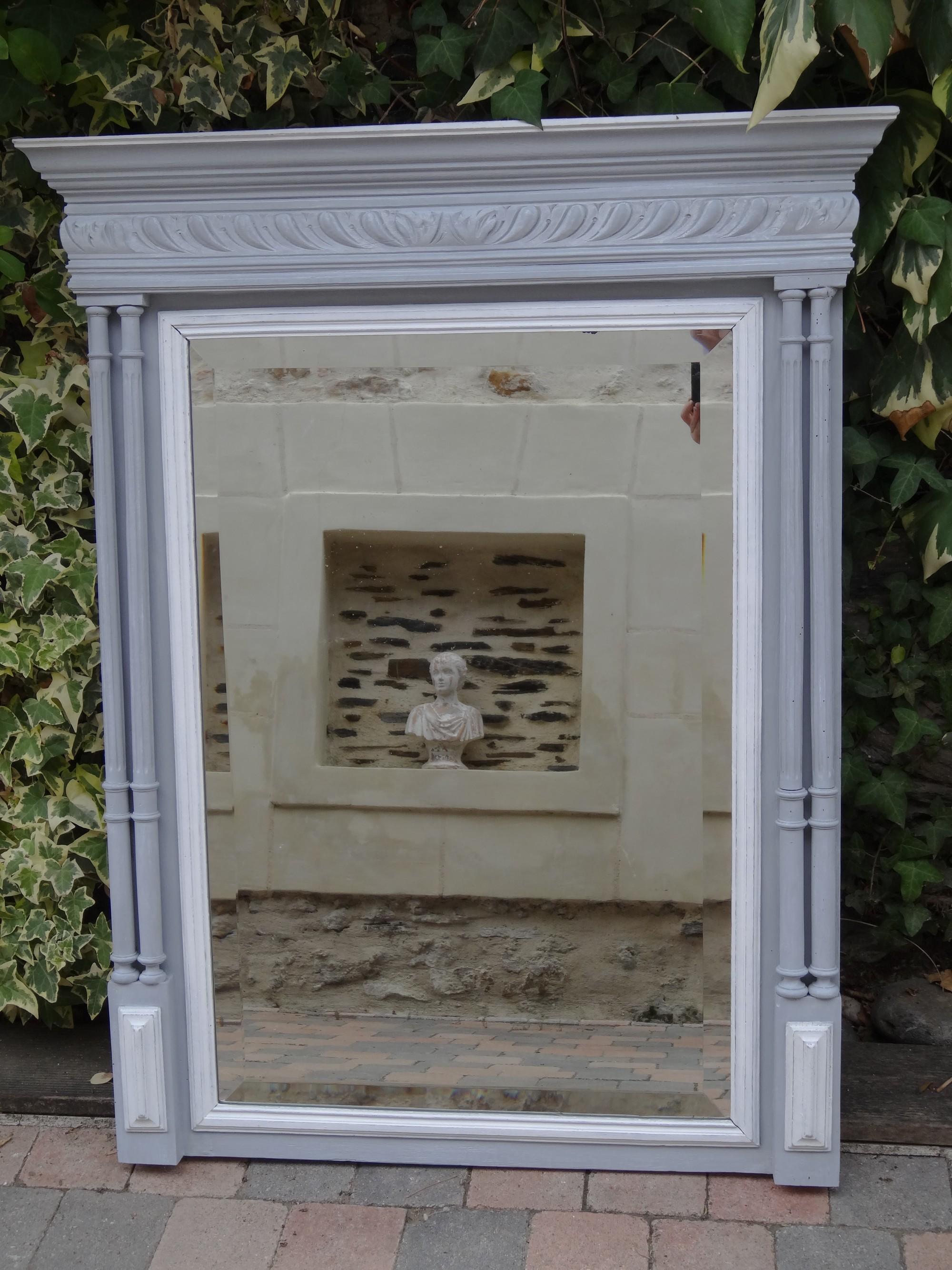 joli miroir de style henri ii patin gris colombe et blanc. Black Bedroom Furniture Sets. Home Design Ideas