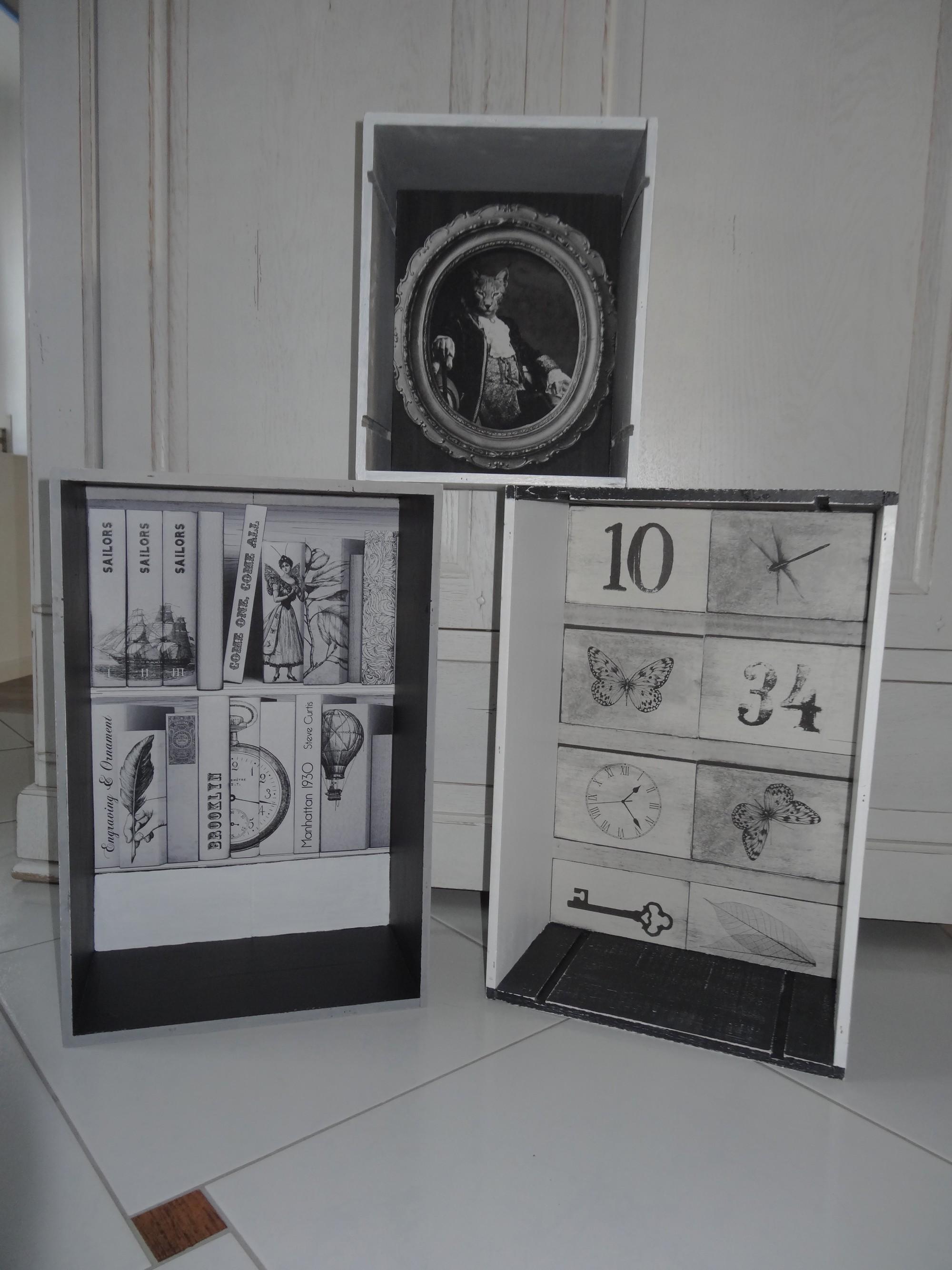 caisses de vin relook es pour en faire des caisses de rangement d co anjoudeco. Black Bedroom Furniture Sets. Home Design Ideas